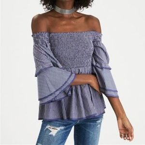 American Eagle AE Smocked Off Shoulder Top NWT